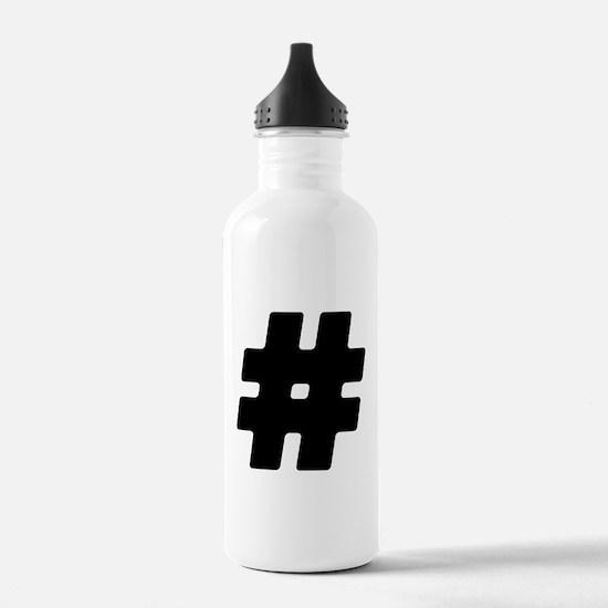 Black #Hashtag Water Bottle