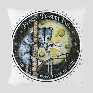 The Frosty 'Possum Pub Woven Throw Pillow
