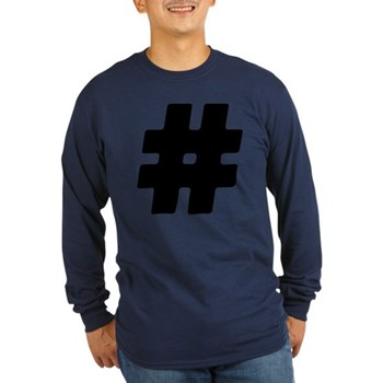 Black #Hashtag Long Sleeve Dark T-Shirt