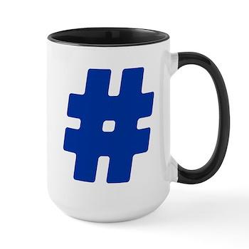 Blue #Hashtag Large Mug