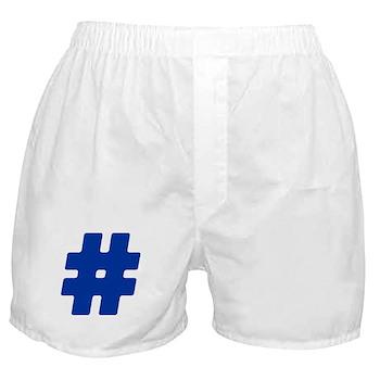 Blue #Hashtag Boxer Shorts