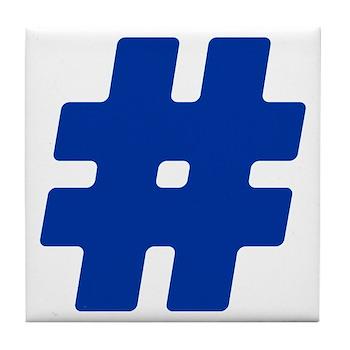 Blue #Hashtag Tile Coaster