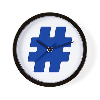 Blue #Hashtag Wall Clock