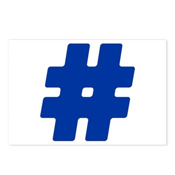 Blue #Hashtag Postcards (Package of 8)