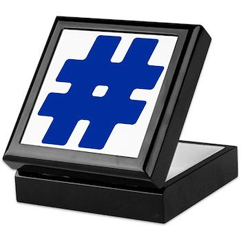 Blue #Hashtag Keepsake Box