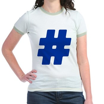 Blue #Hashtag Jr. Ringer T-Shirt