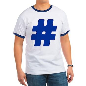Blue #Hashtag Ringer T-Shirt