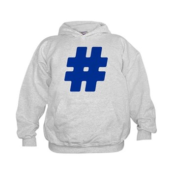 Blue #Hashtag Kid's Hoodie