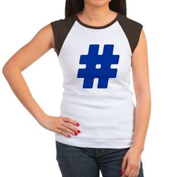 Blue #Hashtag Women's Cap Sleeve T-Shirt