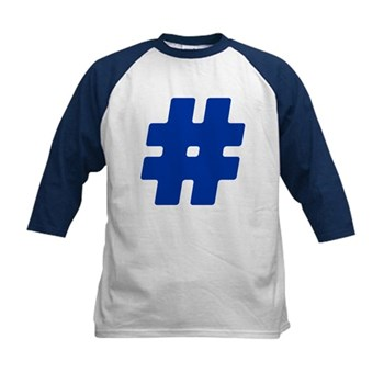 Blue #Hashtag Kids Baseball Jersey