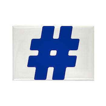 Blue #Hashtag Rectangle Magnet