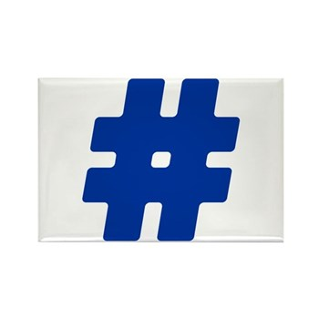 Blue #Hashtag Rectangle Magnet (100 pack)