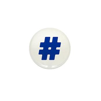 Blue #Hashtag Mini Button