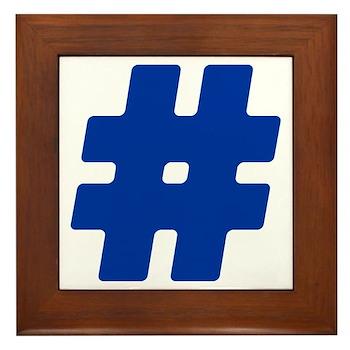 Blue #Hashtag Framed Tile