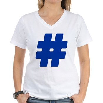 Blue #Hashtag Women's V-Neck T-Shirt