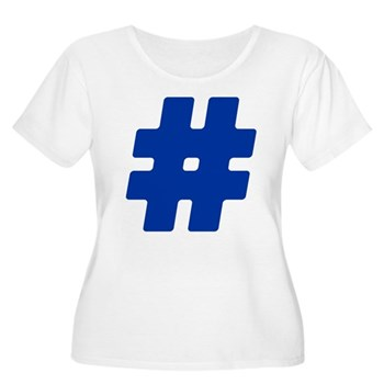 Blue #Hashtag Women's Plus Size Scoop Neck T-Shirt