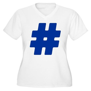 Blue #Hashtag Women's Plus Size V-Neck T-Shirt