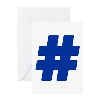 Blue #Hashtag Greeting Card