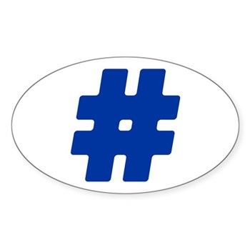 Blue #Hashtag Oval Sticker (10 pack)