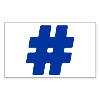 Blue #Hashtag Rectangle Sticker (50 pack)