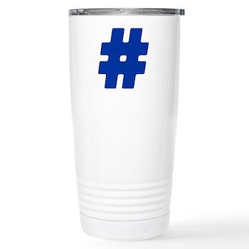 Blue #Hashtag Stainless Steel Travel Mug