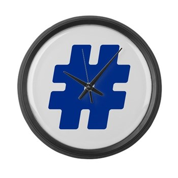 Blue #Hashtag Large Wall Clock