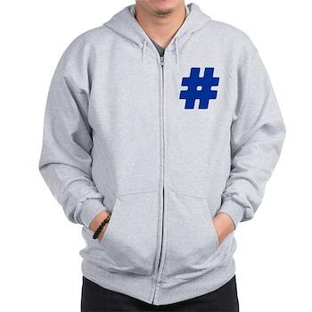 Blue #Hashtag Zip Hoodie