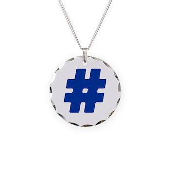 Blue #Hashtag Necklace Circle Charm
