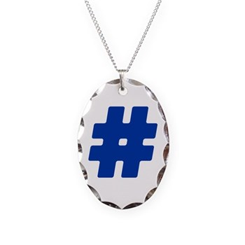 Blue #Hashtag Necklace Oval Charm