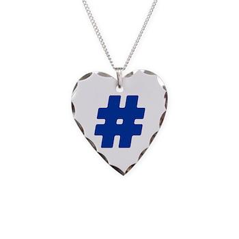 Blue #Hashtag Necklace Heart Charm
