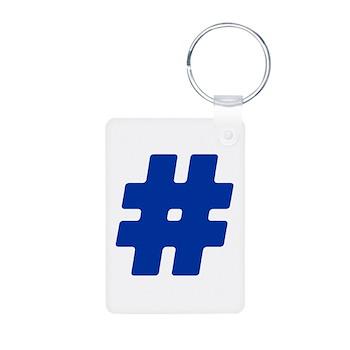 Blue #Hashtag Aluminum Photo Keychain