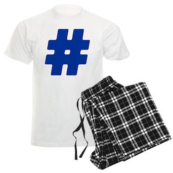 Blue #Hashtag Men's Light Pajamas