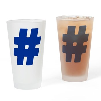 Blue #Hashtag Drinking Glass