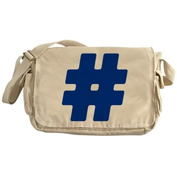 Blue #Hashtag Canvas Messenger Bag