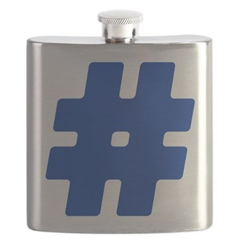 Blue #Hashtag Flask