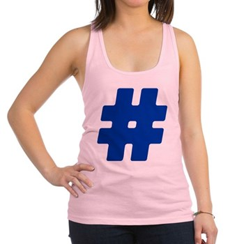 Blue #Hashtag Racerback Tank Top