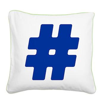 Blue #Hashtag Square Canvas Pillow