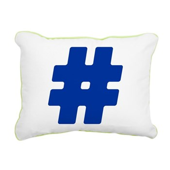 Blue #Hashtag Rectangular Canvas Pillow