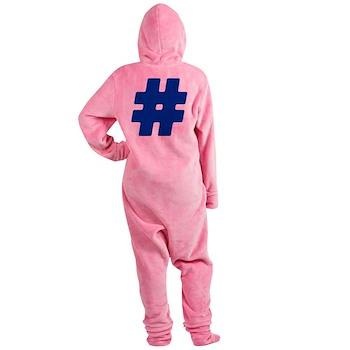 Blue #Hashtag Footed Pajamas