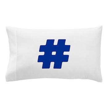 Blue #Hashtag Pillow Case