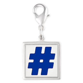 Blue #Hashtag Silver Square Charm