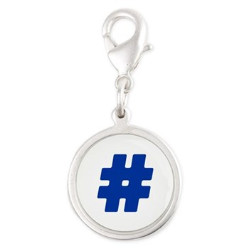 Blue #Hashtag Silver Round Charm
