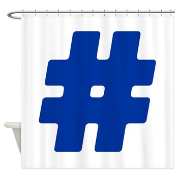 Blue #Hashtag Shower Curtain