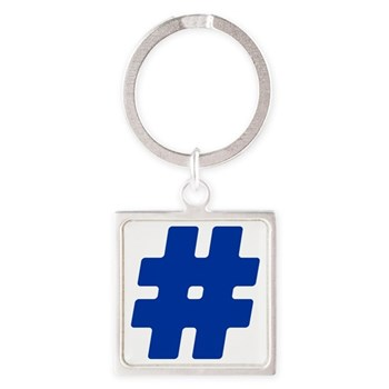 Blue #Hashtag Square Keychain