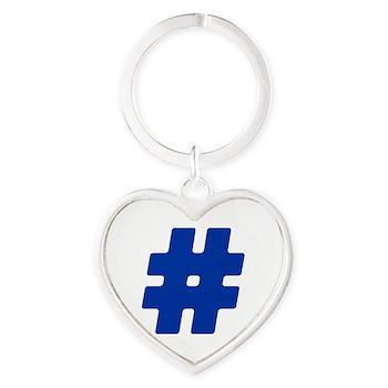 Blue #Hashtag Heart Keychain