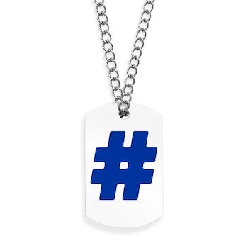 Blue #Hashtag Dog Tags