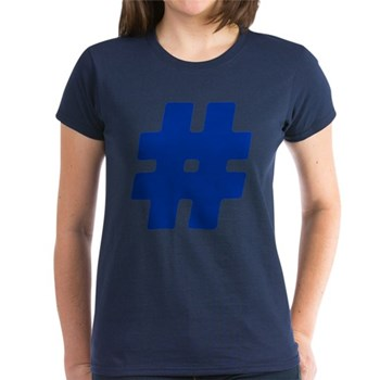 Blue #Hashtag Women's Dark T-Shirt