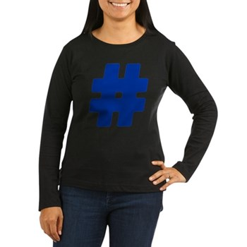 Blue #Hashtag Women's Dark Long Sleeve T-Shirt