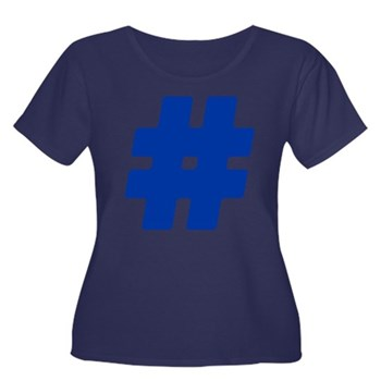 Blue #Hashtag Women's Dark Plus Size Scoop Neck T-
