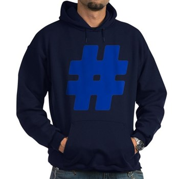 Blue #Hashtag Dark Hoodie